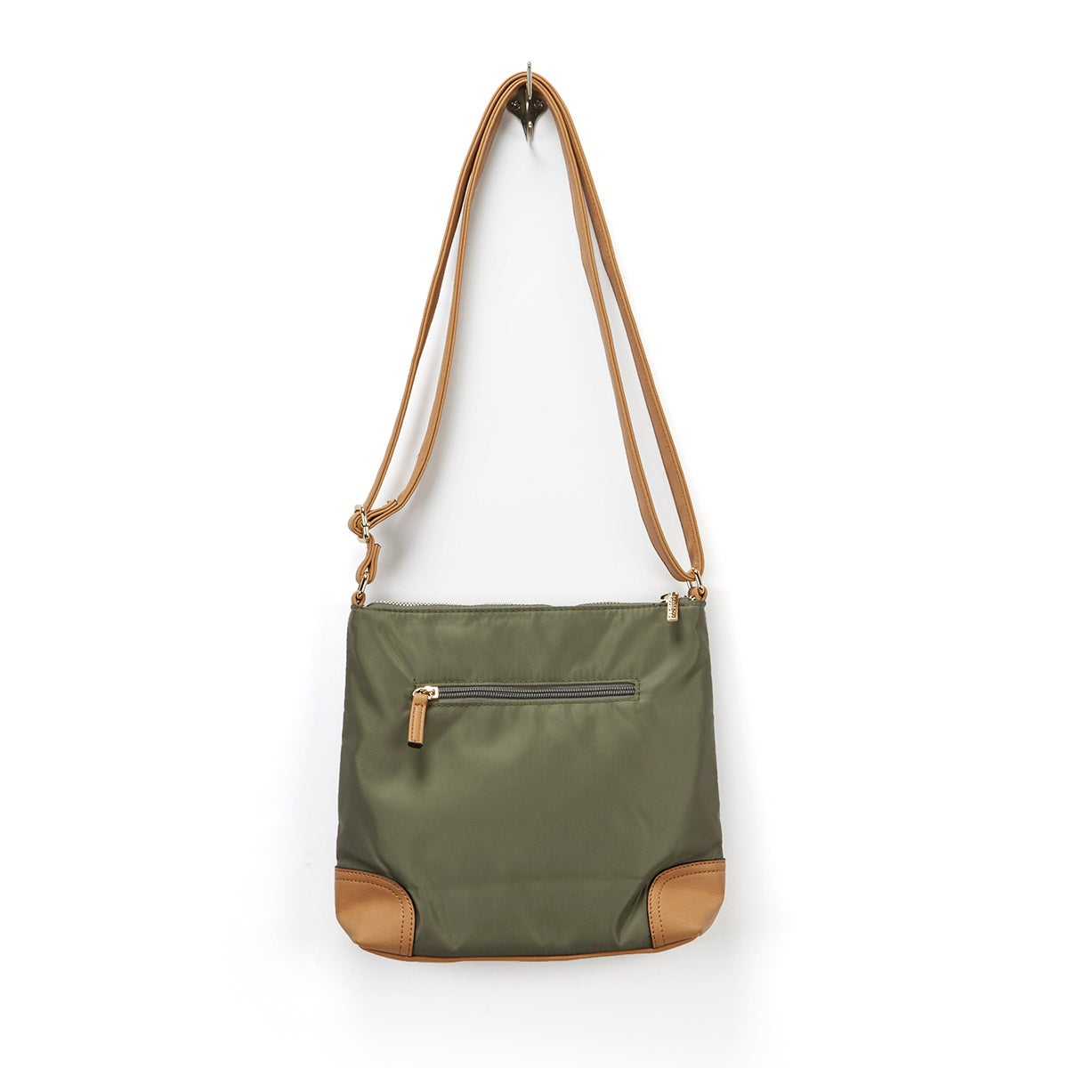 Lds khaki/cml north south crossbody bag
