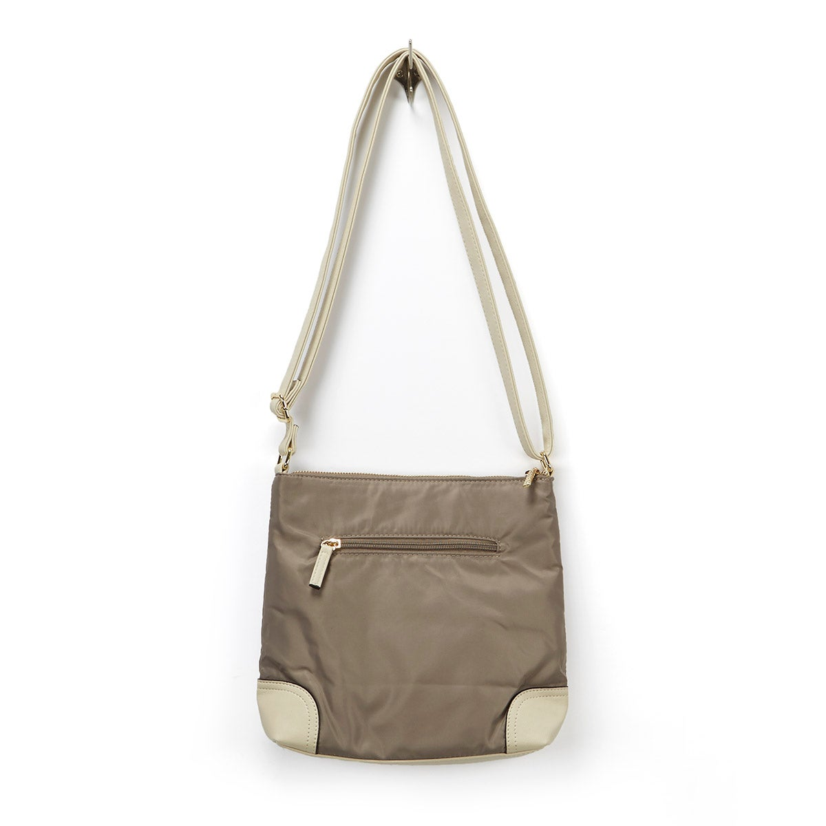 Lds stn/ivory north south crossbody bag