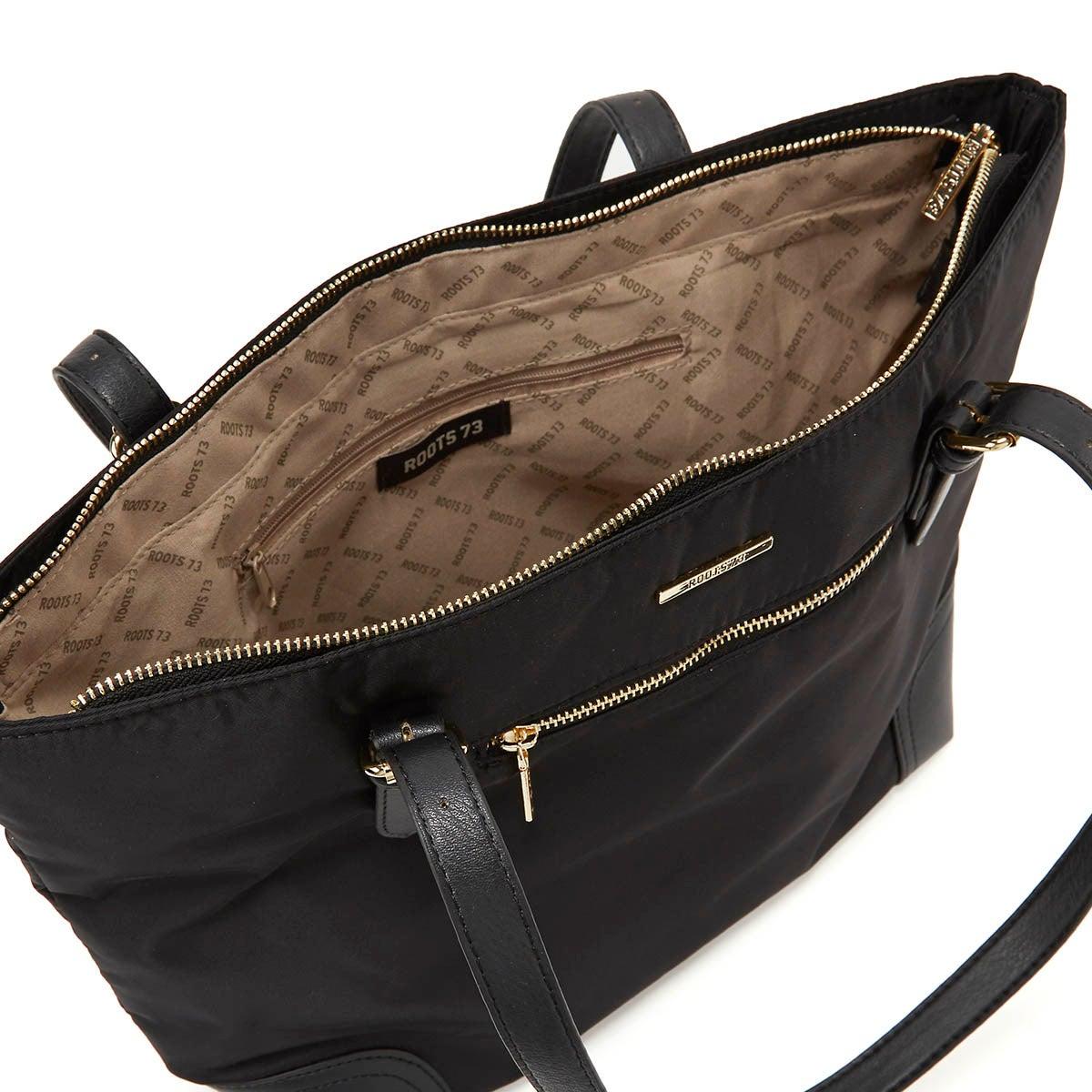 Lds black/black large satchel