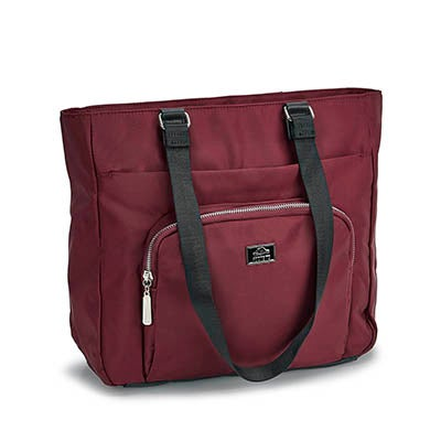 Lds burgundy rounded pocket satchel