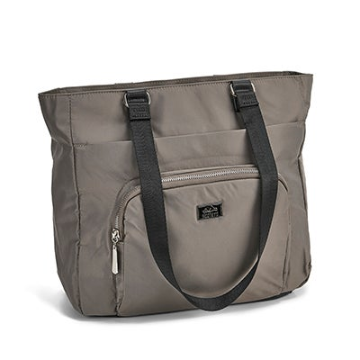 Lds taupe rounded pocket satchel