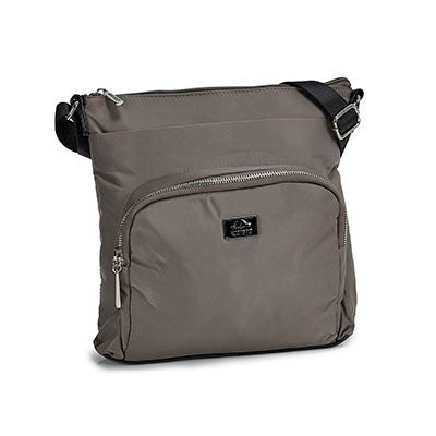 Lds taupe rounded pocket crossbody