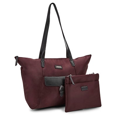 Roots Women's R4866 burgundy 2 in 1 tote bag