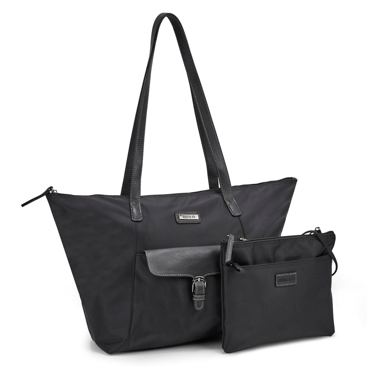 Women's ROOTS73 R4866 black 2 in 1 tote bag