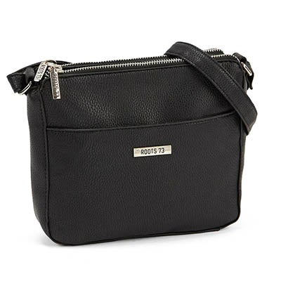 Roots Women's double zip black crossbody camera bag