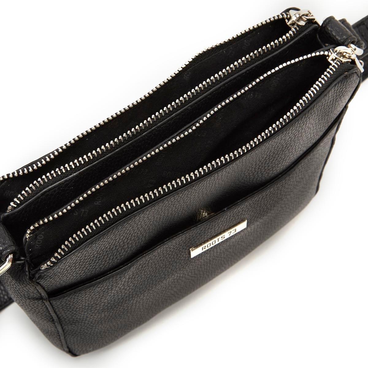 Lds blk double zip cross body camera bag