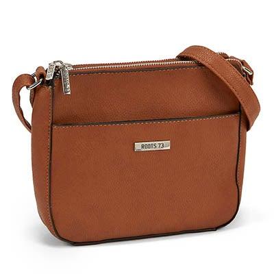 Roots Women's double zip cognac crossbody camera bag