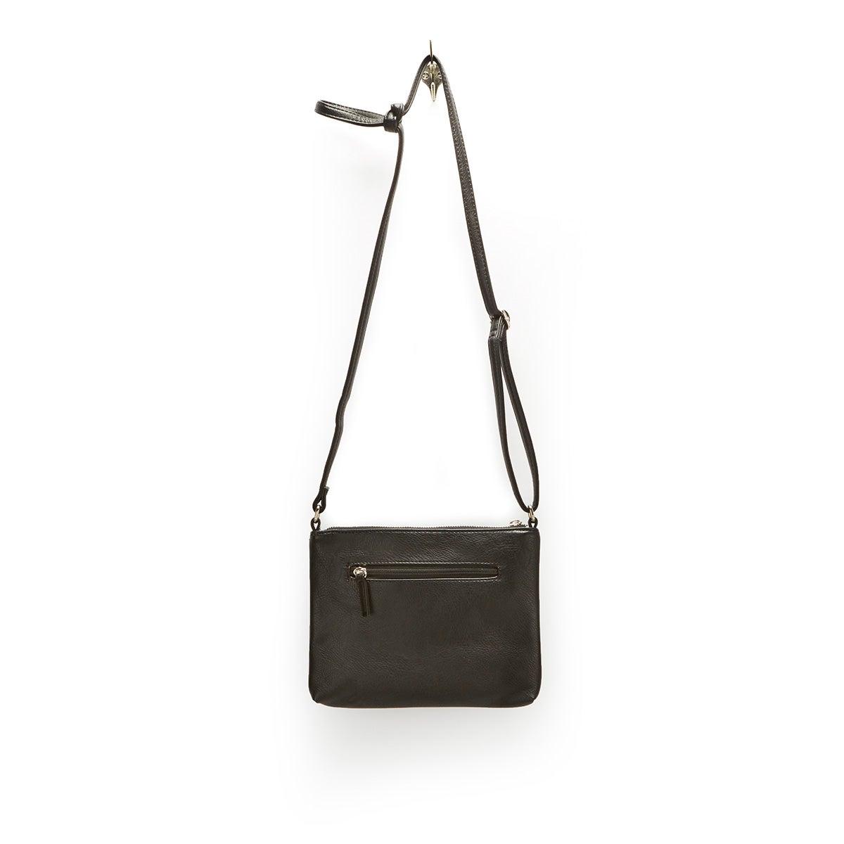Lds Roots73 blk 3 zipper cross body bag