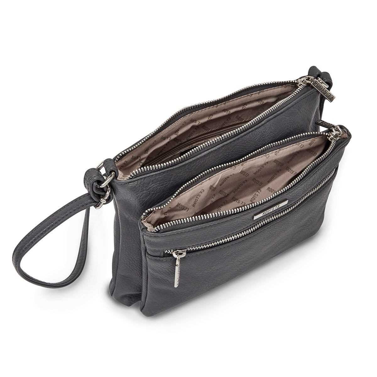 Lds Roots73 gry 3 zipper cross body bag