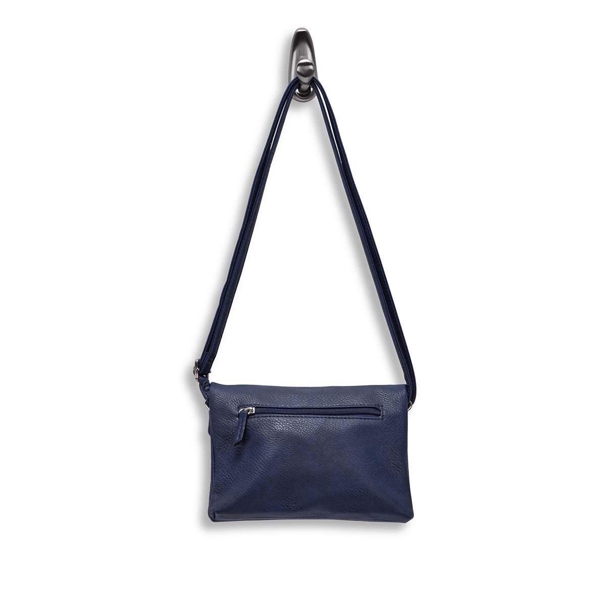 Lds blue flap zip east/west crossbody
