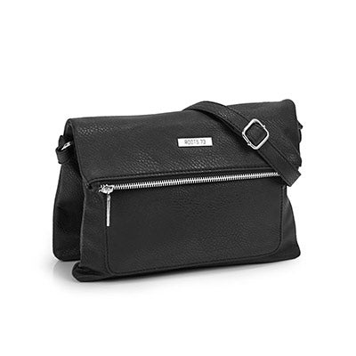 Lds Roots73 black top flap crossbody bag