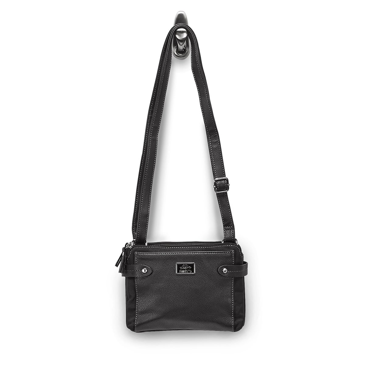 LdsRoots73 blk 2 compartment crossbody