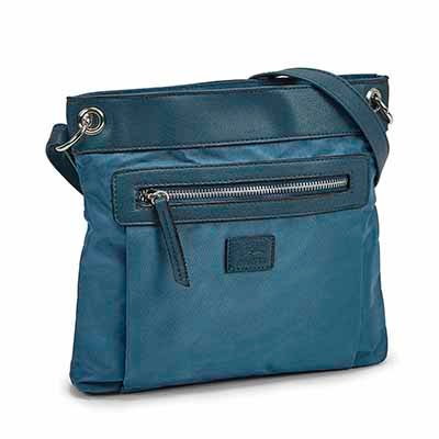 Lds teal north/south crossbody bag