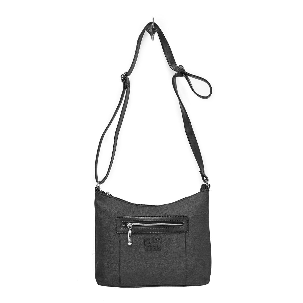LdsRoots73 black top zip hobo bag
