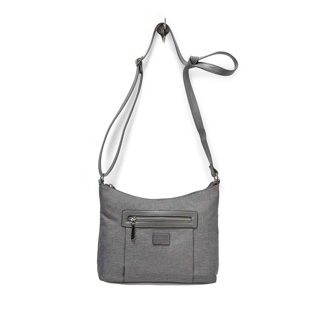 LdsRoots73 grey top zip hobo bag