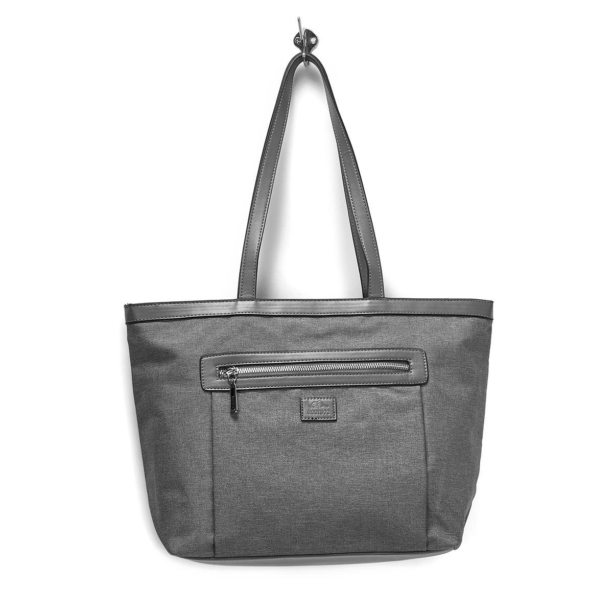 LdsRoots73 grey top zip small tote bag