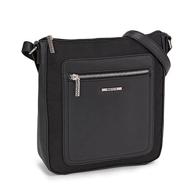 LdsRoots73 blk front stitch cross body