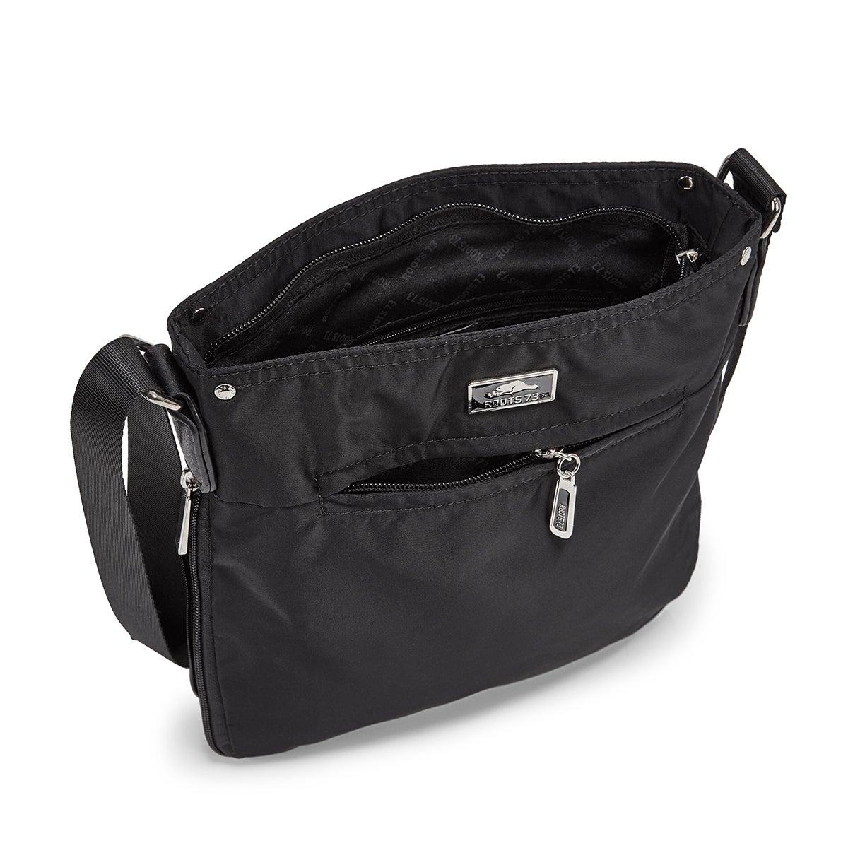Lds black north/south cross body bag