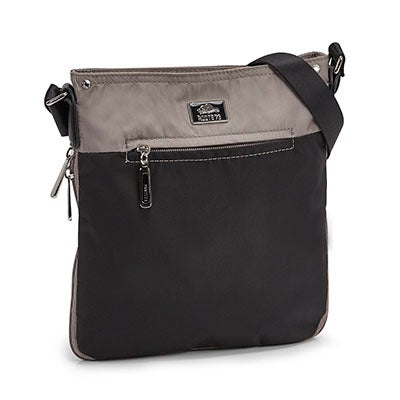 Roots Women's R5136  black/taupe north/south cross body