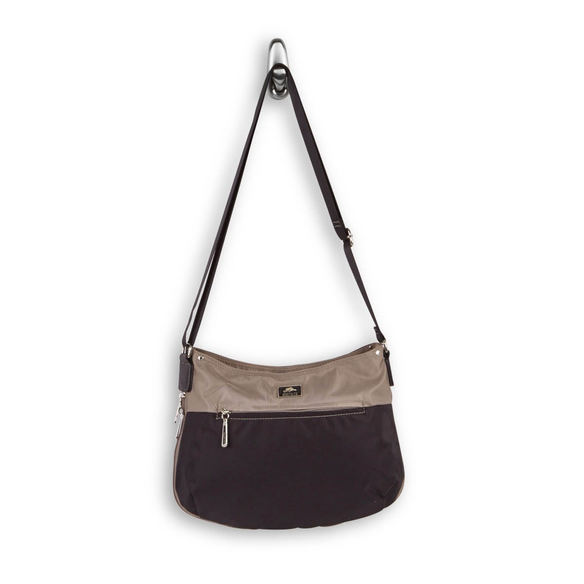 Lds Roots73 bk/tpe top zip crossbody bag