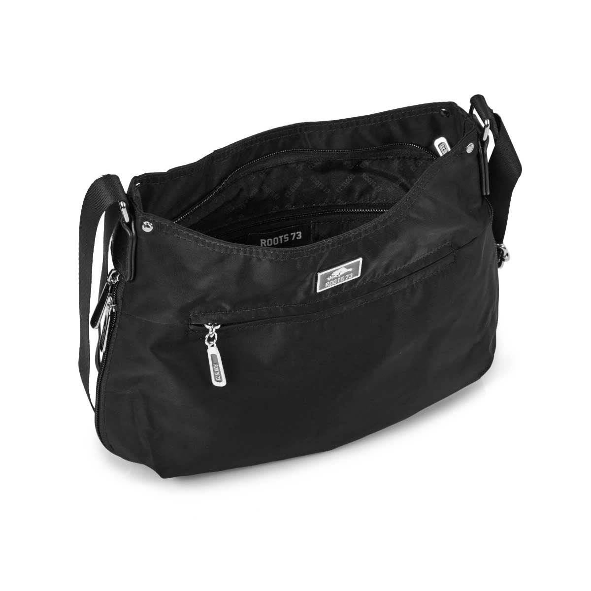 Lds Roots73 blk top zip crossbody bag