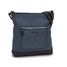 Roots Women's R5157 denim top zip crossbody bag
