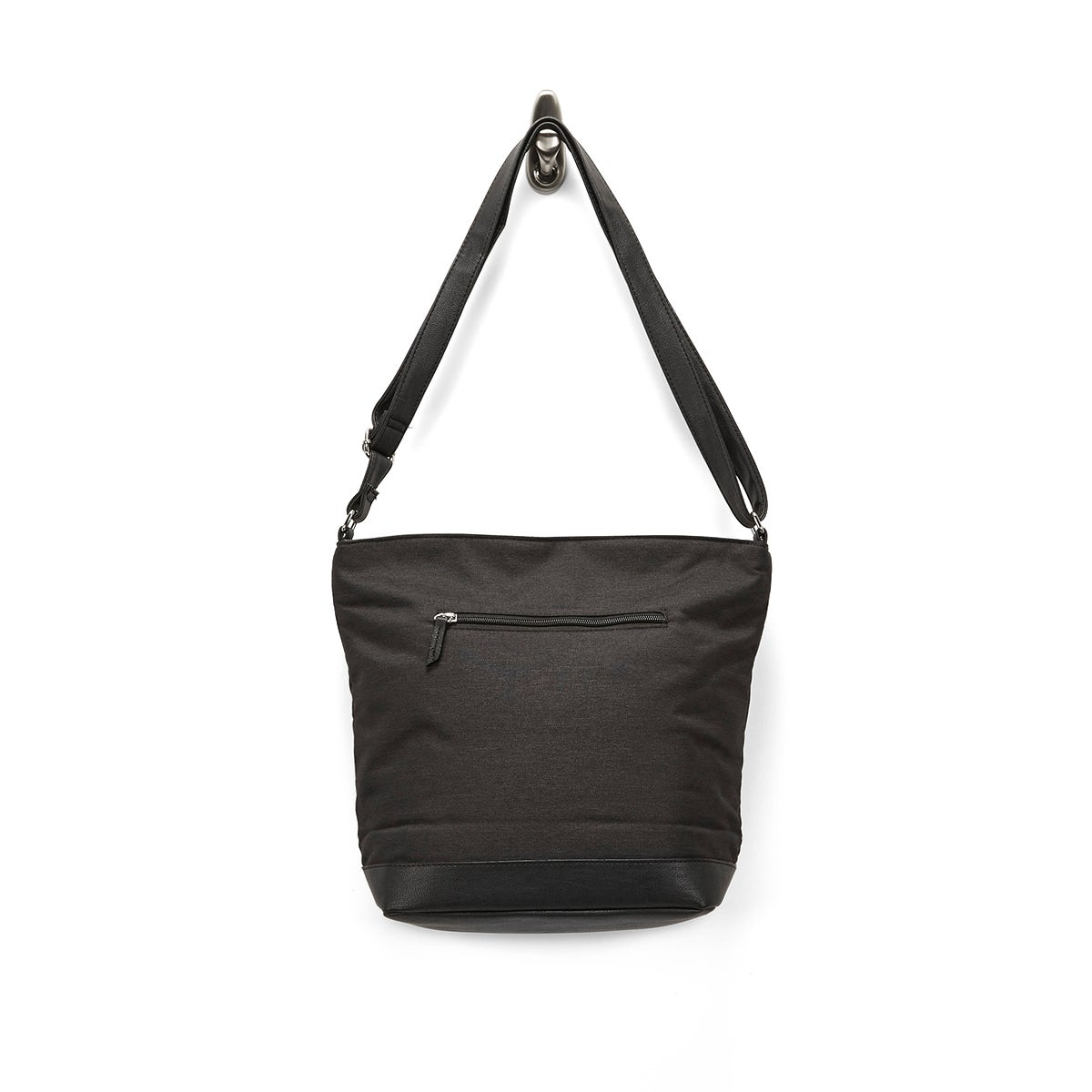 LdsRoots73 black top zip large hobo bag