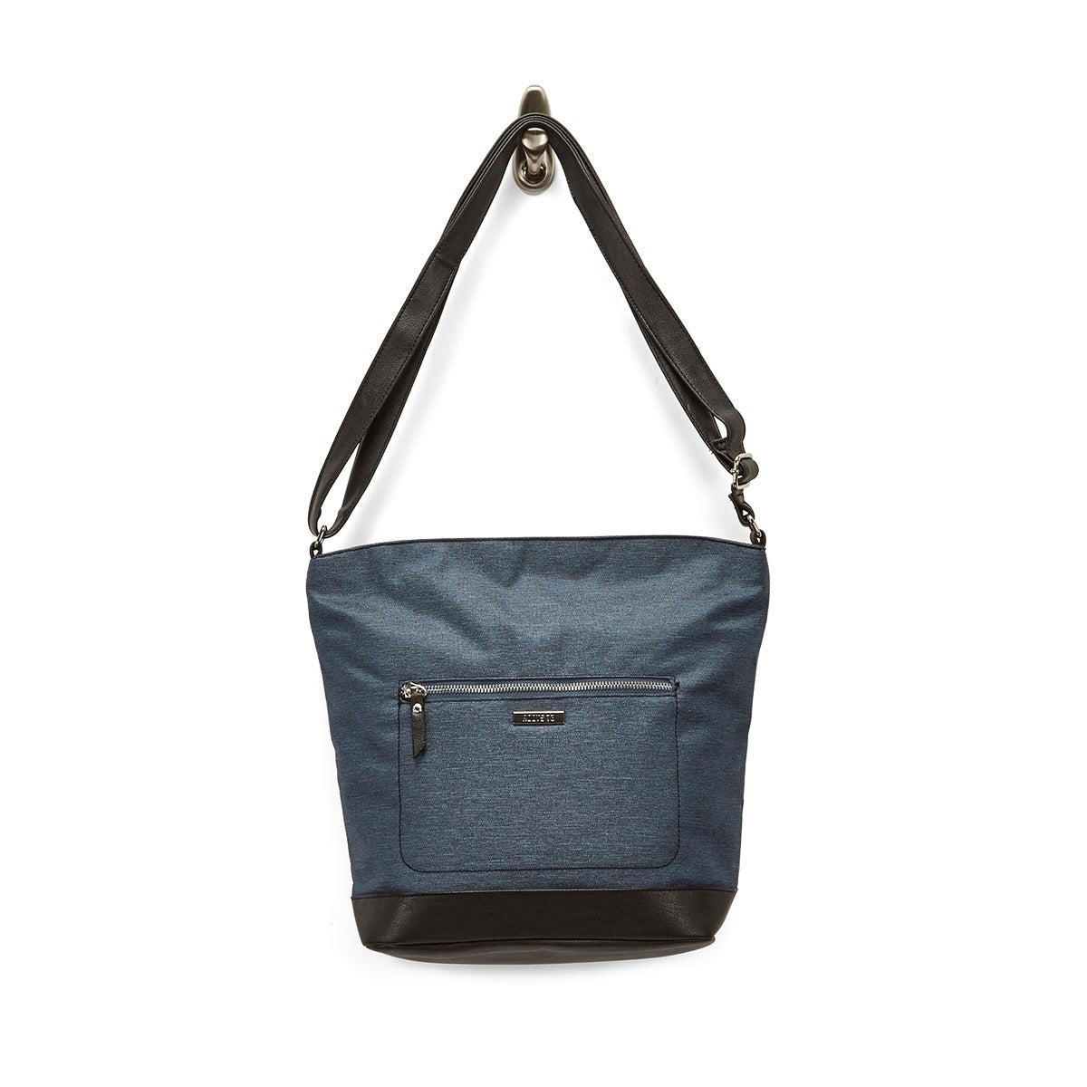 LdsRoots73 denim top zip large hobo bag