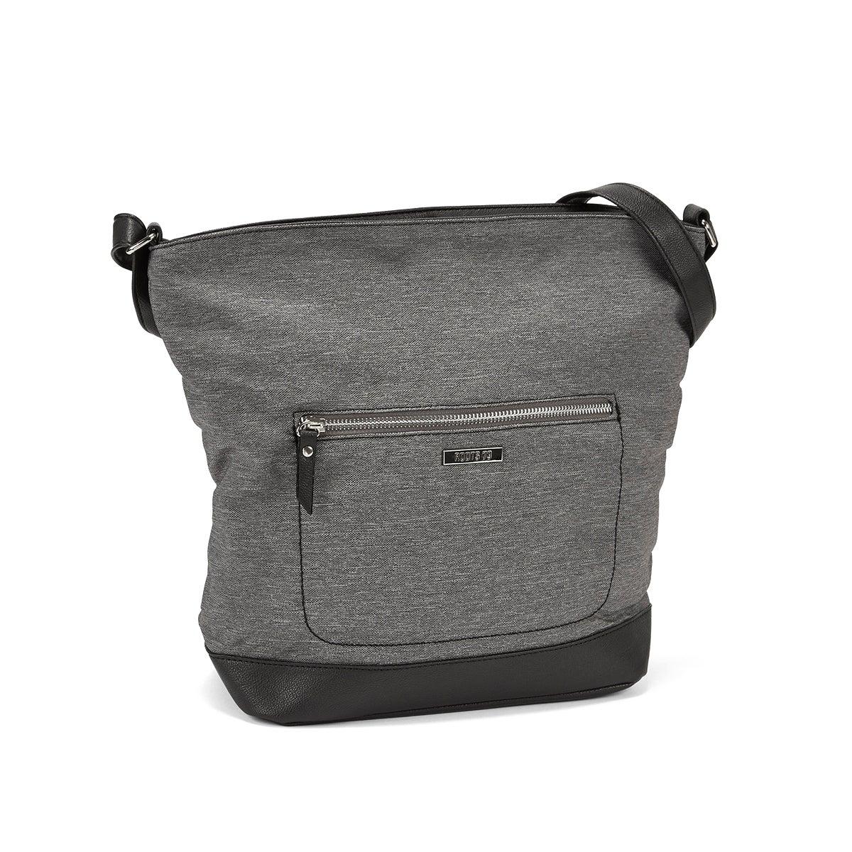 LdsRoots73 grey top zip large hobo bag