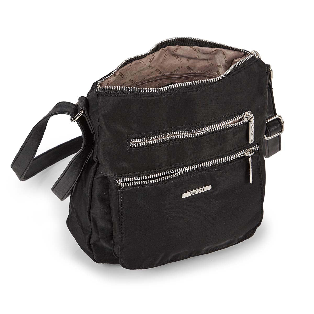 Lds blk north/south top zip crossbody