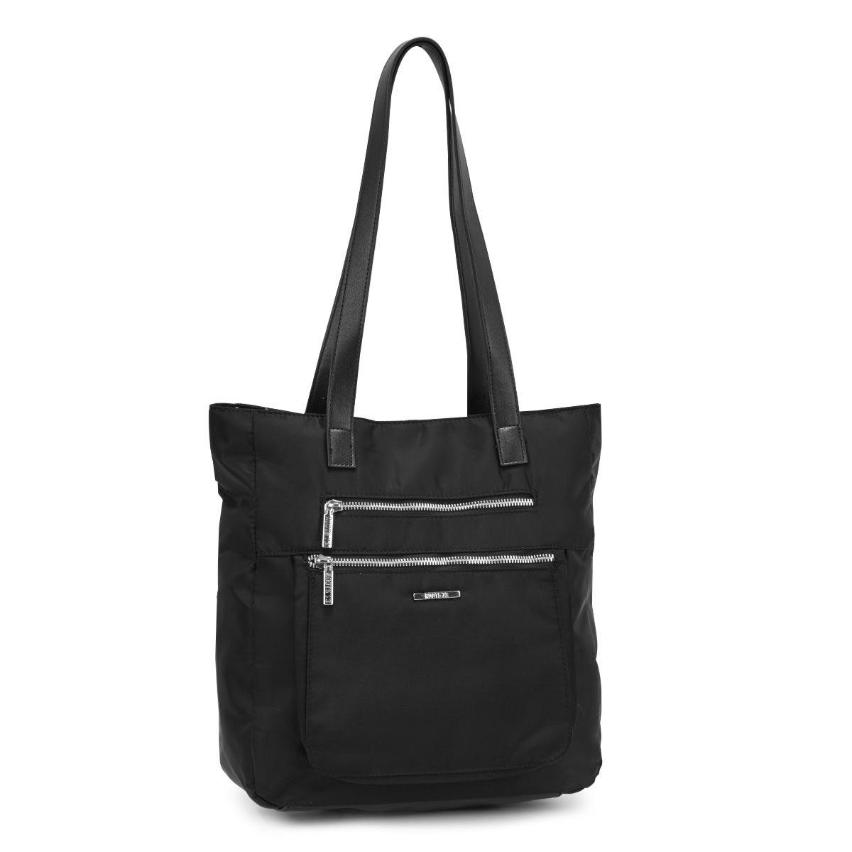 Women's R5192 black zip closure satchel