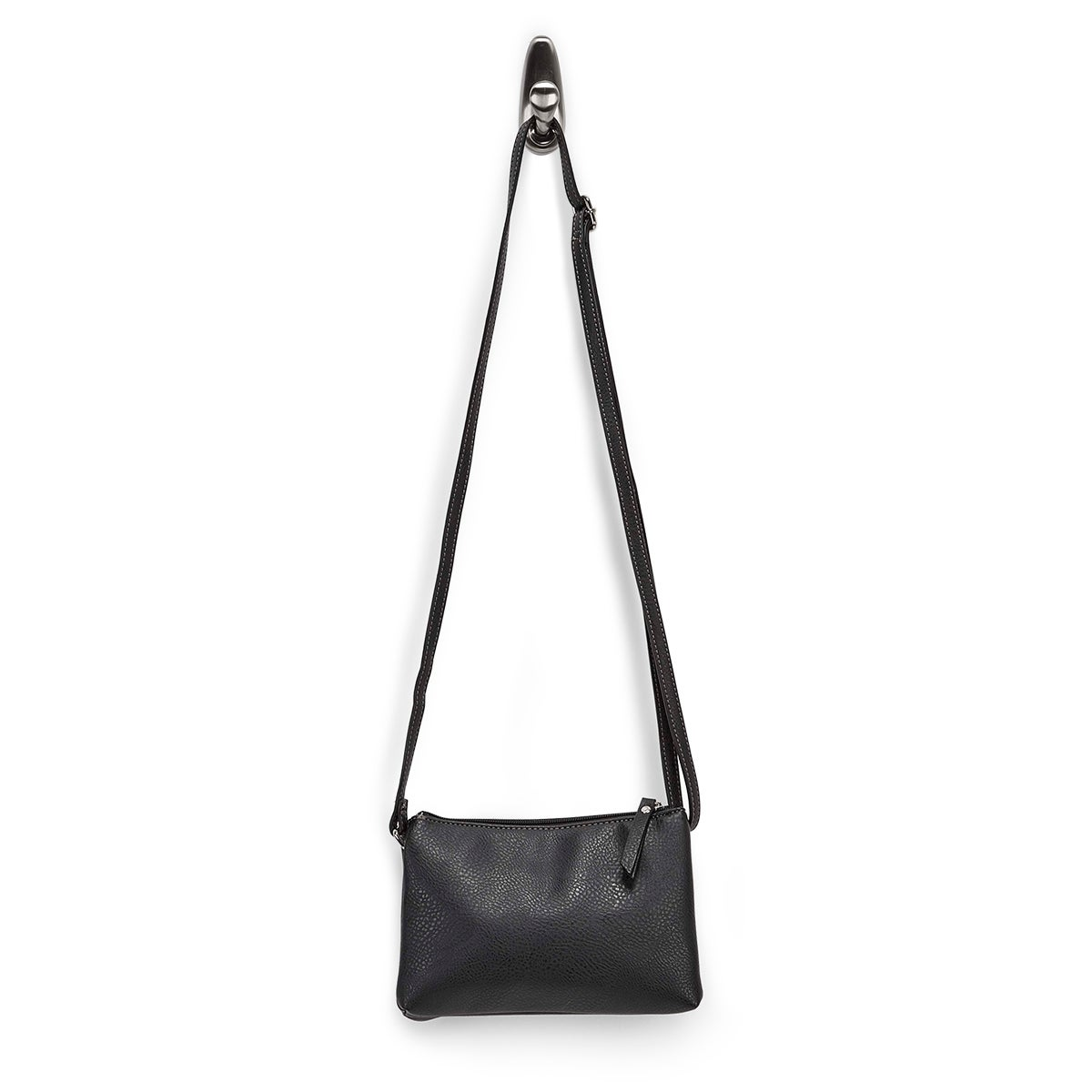 Lds black 2 compartment mini cross body