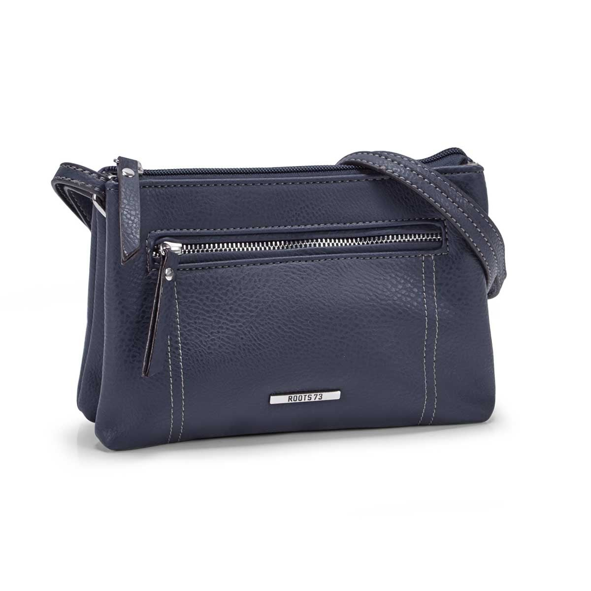 Lds navy 2 compartment mini cross body