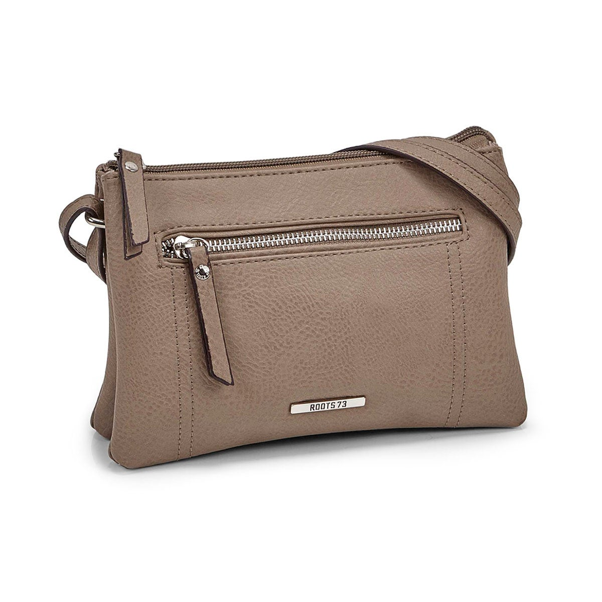 Lds taupe 2 compartment mini cross body