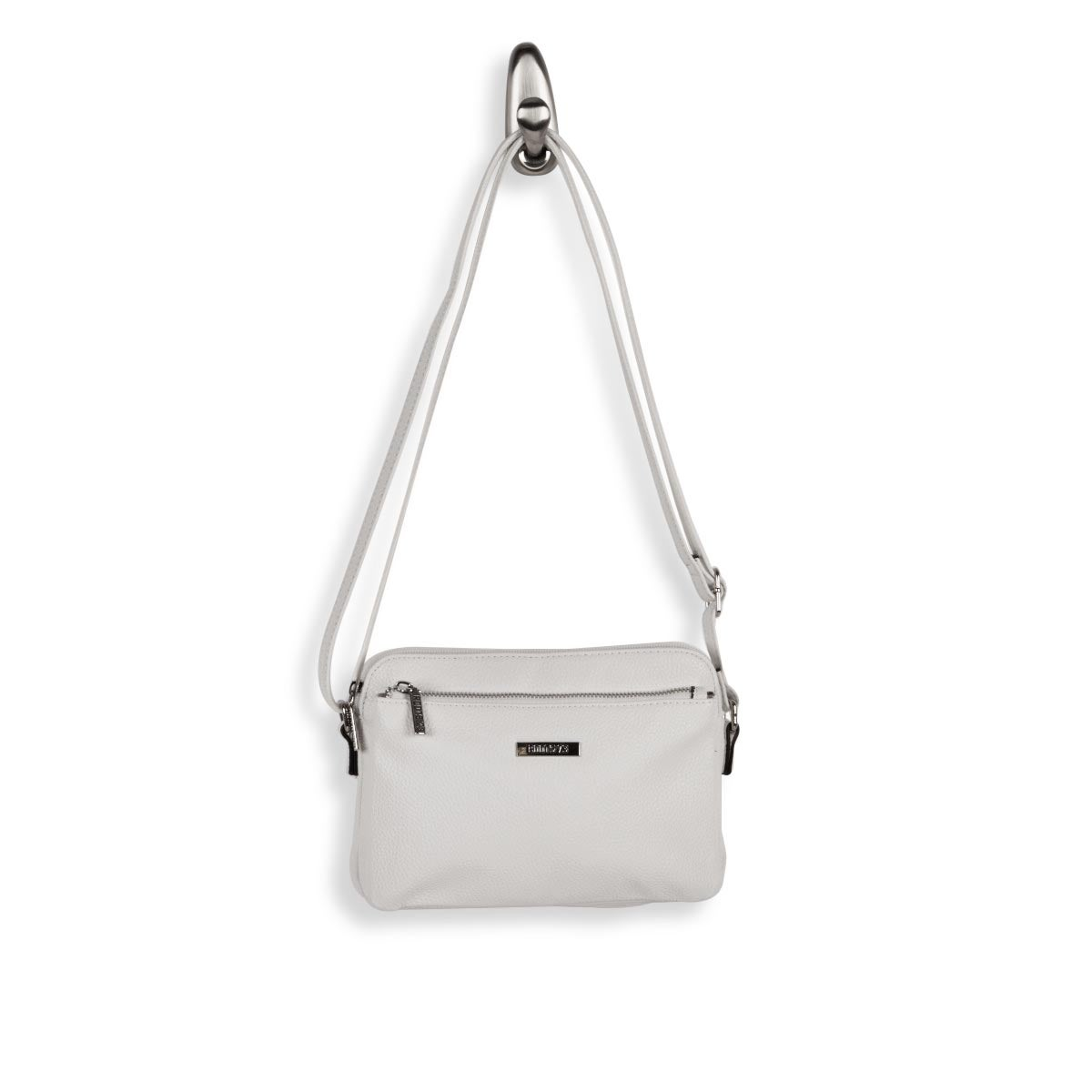 Lds white east/west small crossbody bag