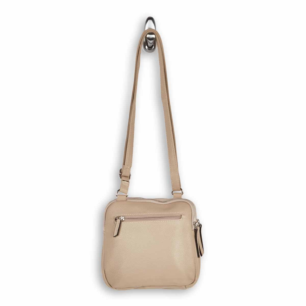 LdsRoots73 beige 3 compartment crossbody