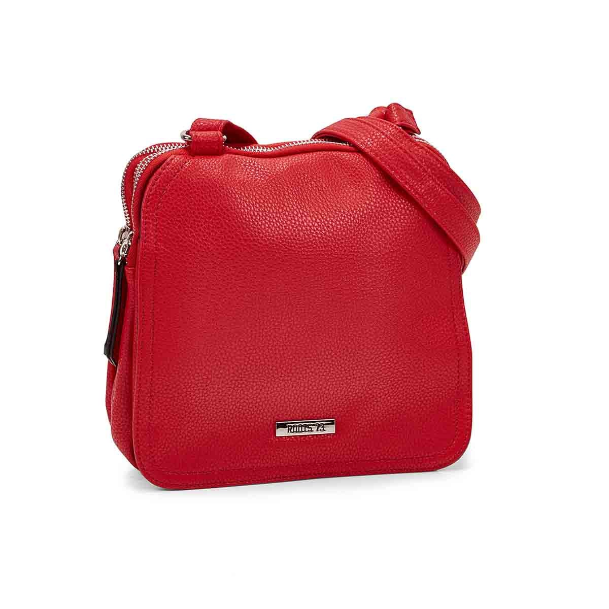 LdsRoots73 red 3 compartment crossbody
