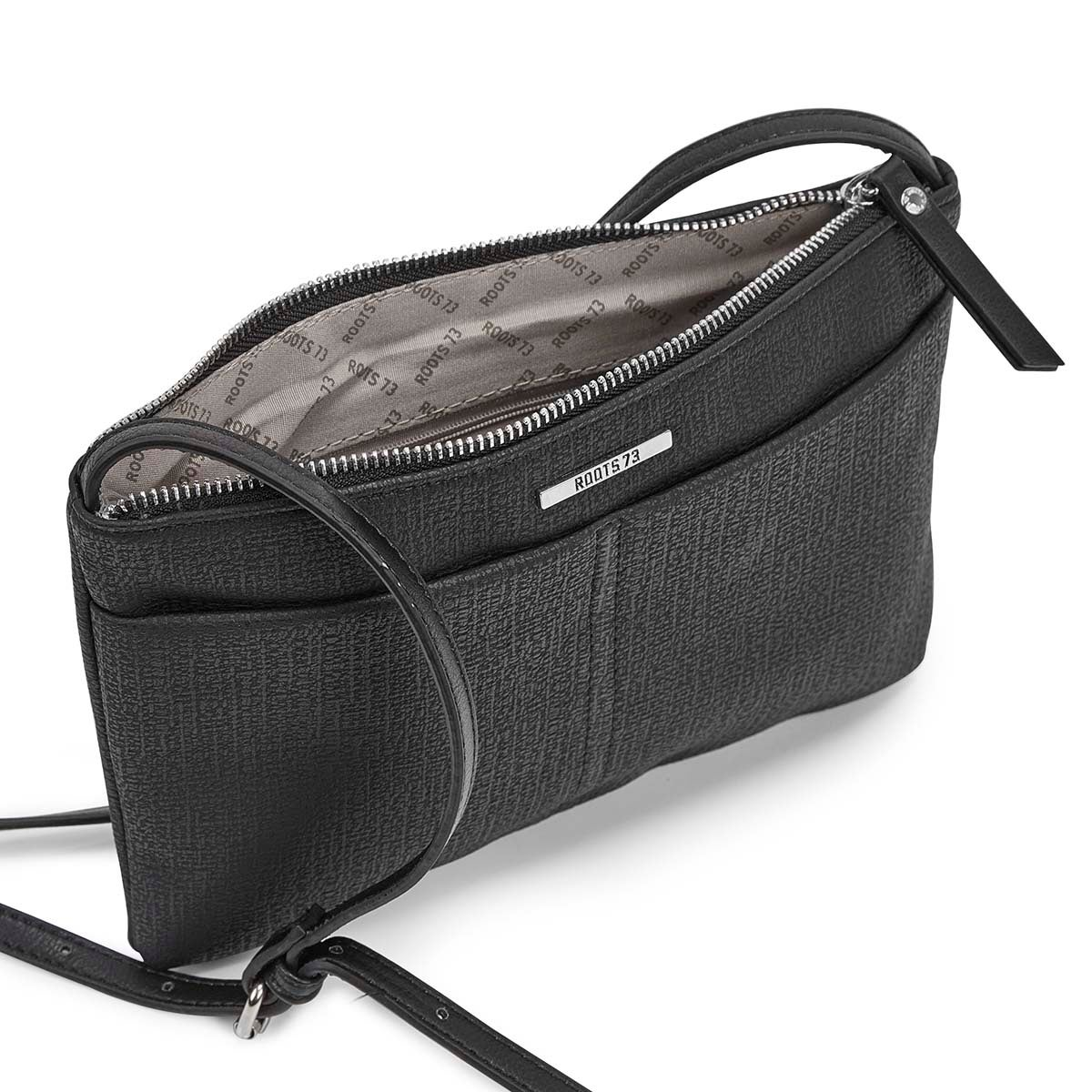 Lds black east/west top zip crossbody