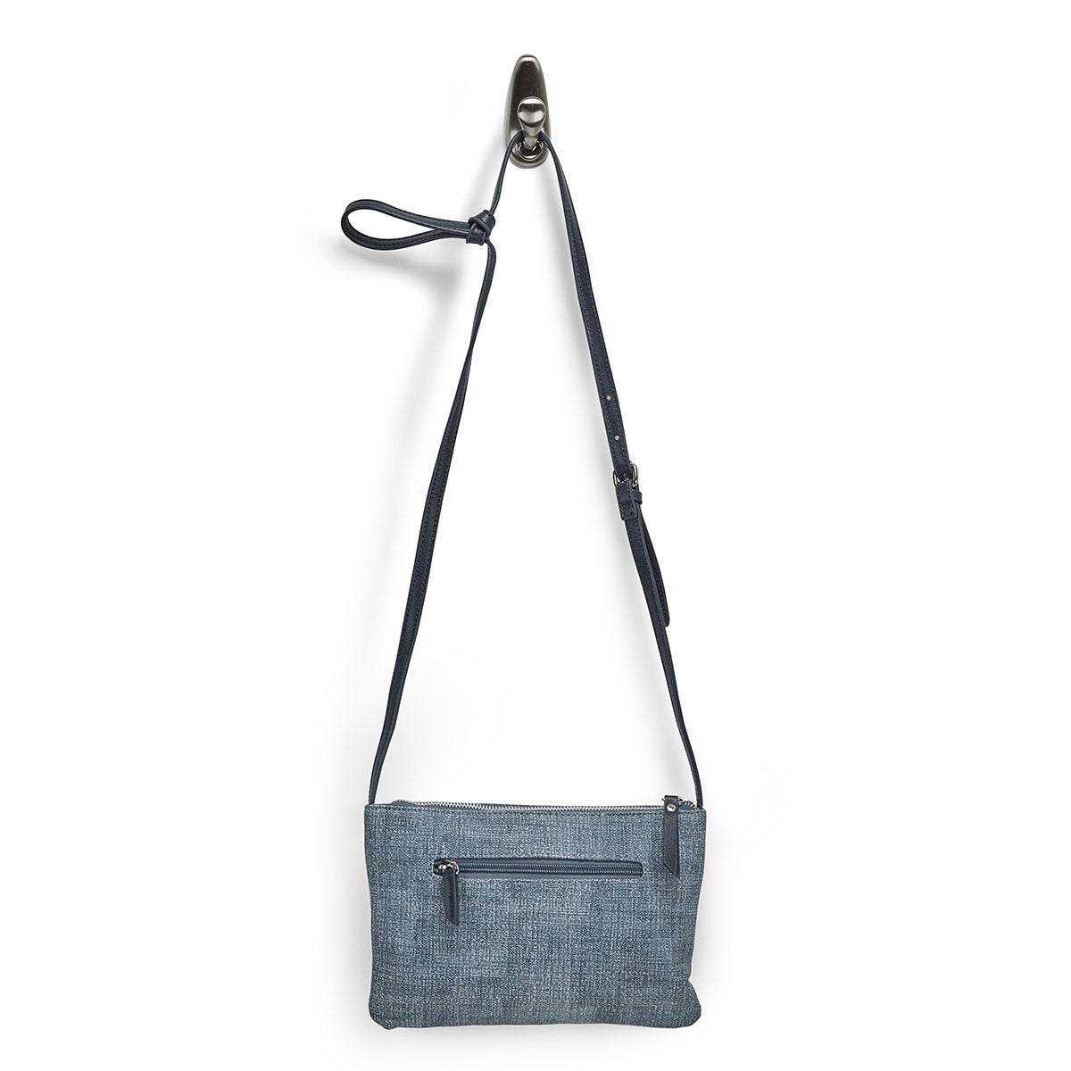 Lds blue east/west top zip crossbody
