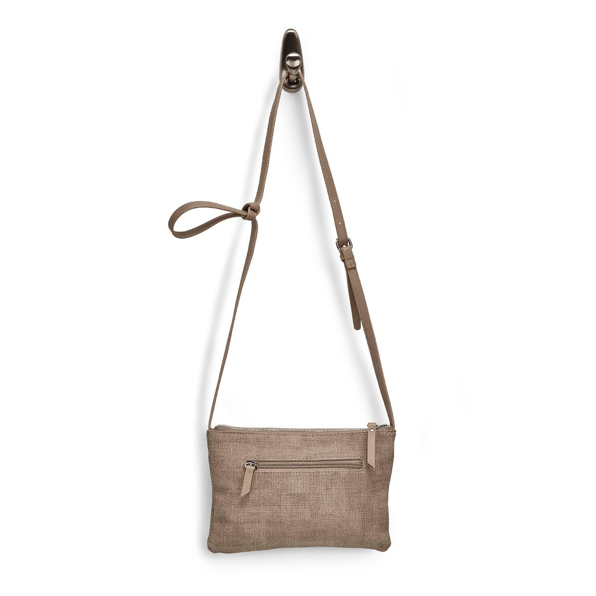 Lds taupe east/west top zip crossbody