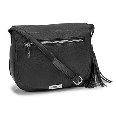 Roots Wonen's R5221 black tassel flapover cross body bag