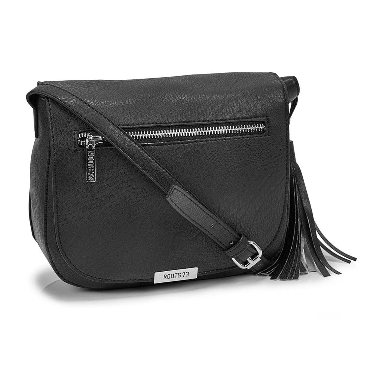 Wonen's R5221 black tassel flapover cross body bag