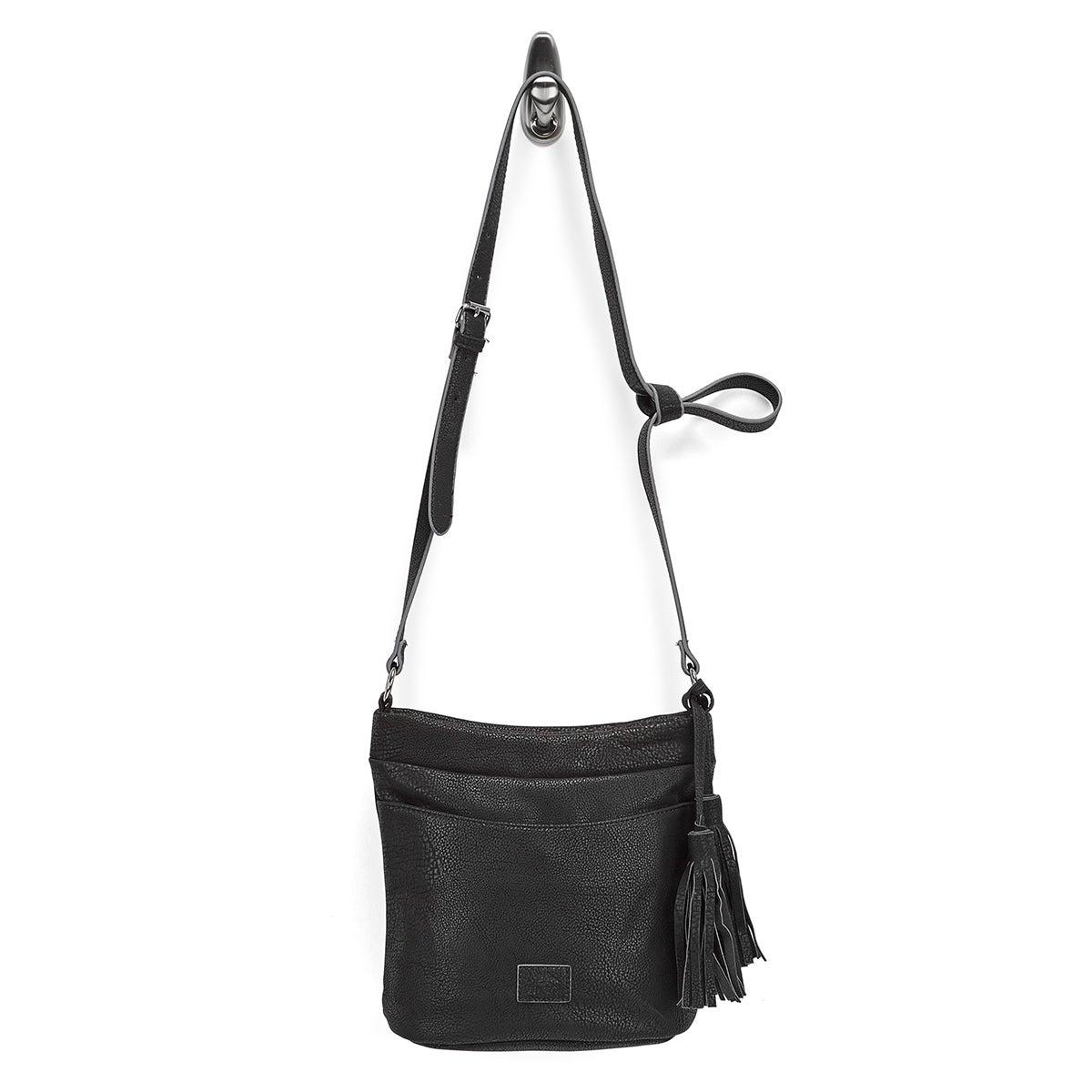 Lds black tassel detail hobo bag