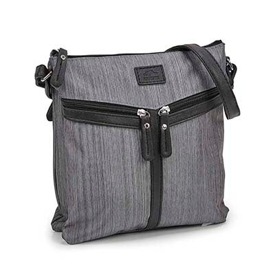 Lds grey double slanted pocket crossbody
