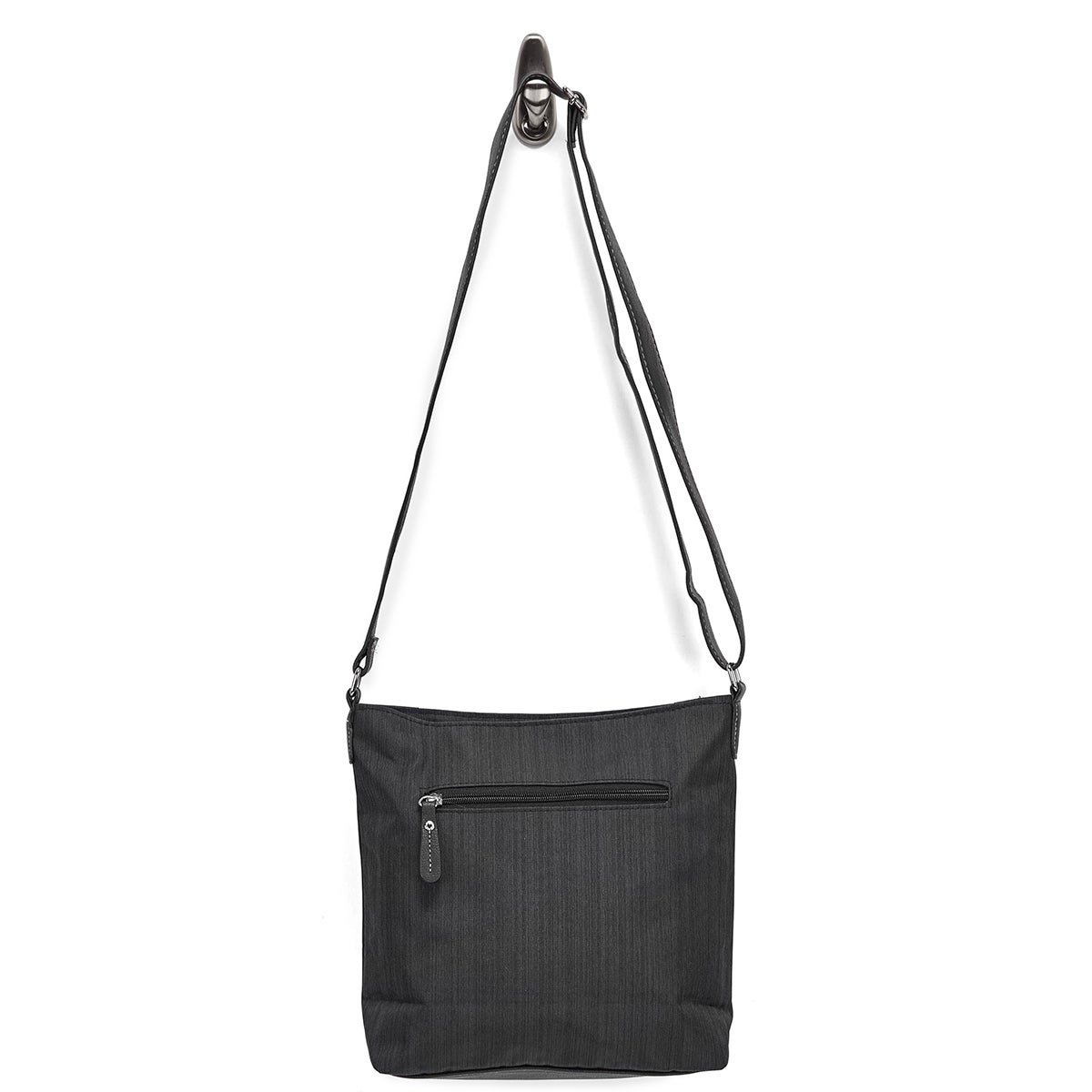 Lds blk double vertical pocket crossbody