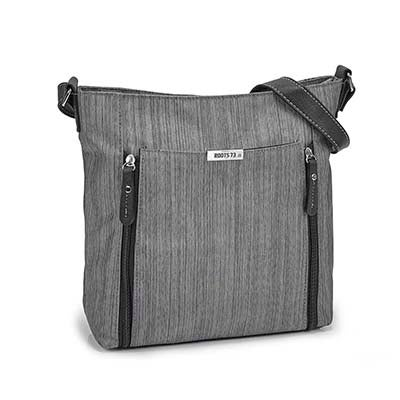 Lds gry double vertical pocket crossbody