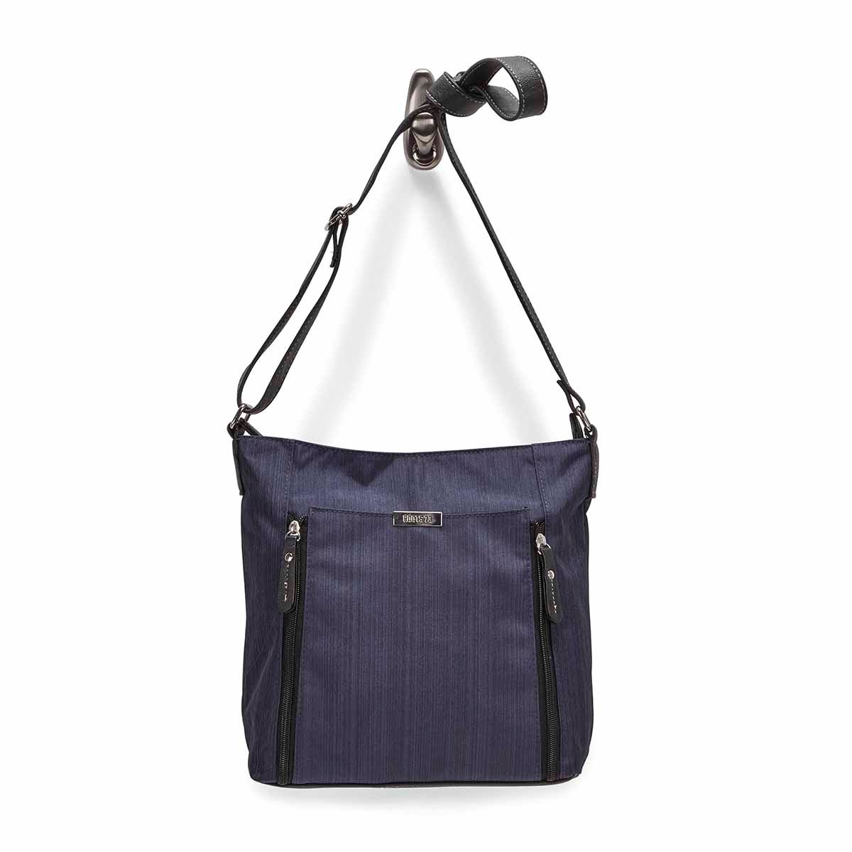 Lds nvy double vertical pocket crossbody