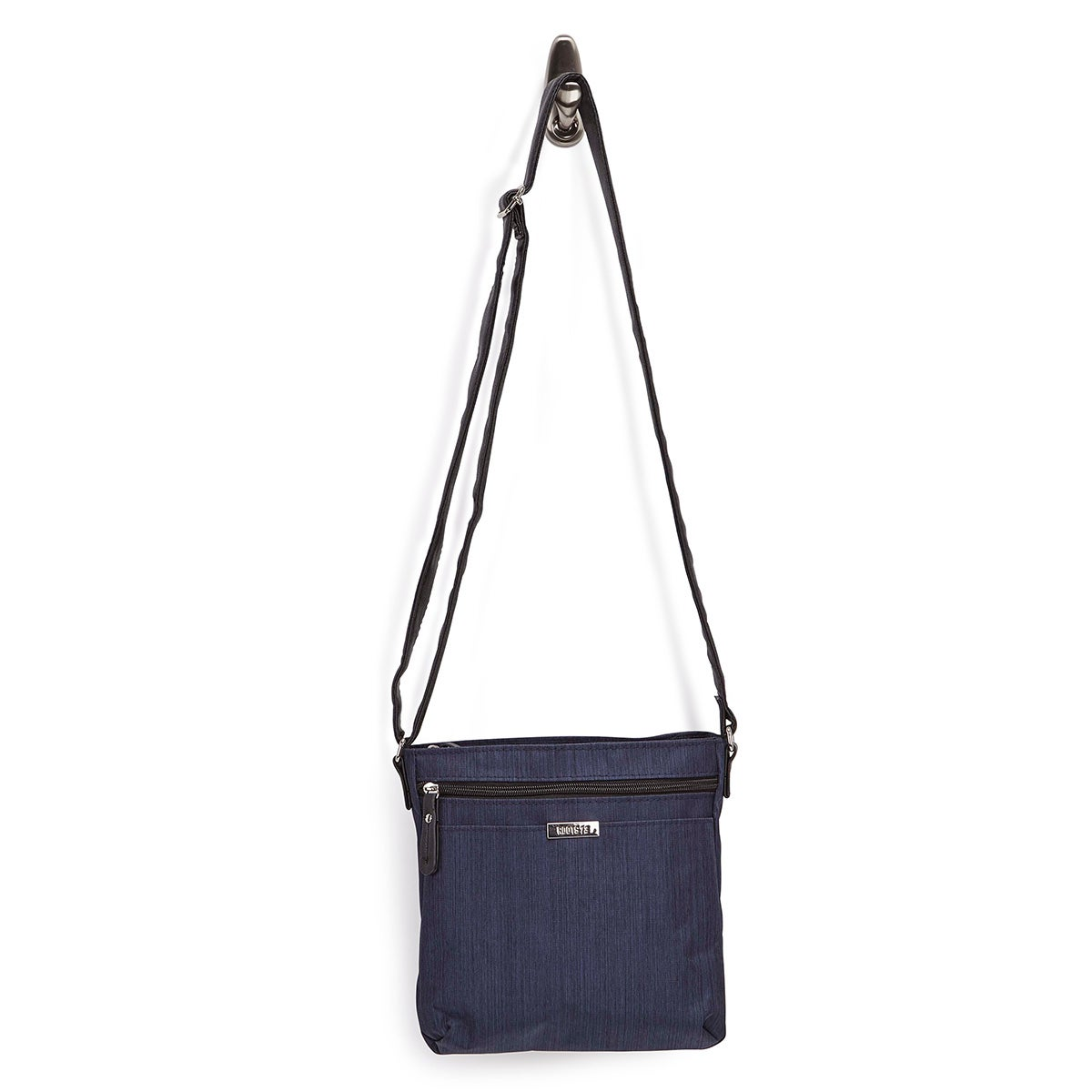 Lds nvy top zip cross dye crossbody bag