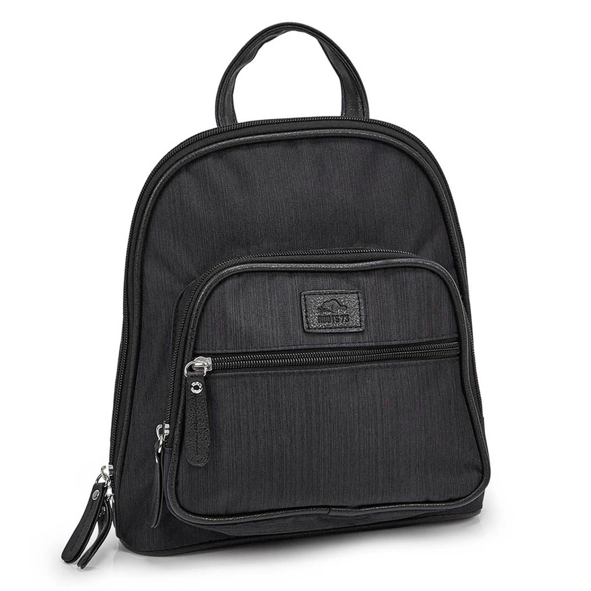 Lds blk double compartment mini backpack