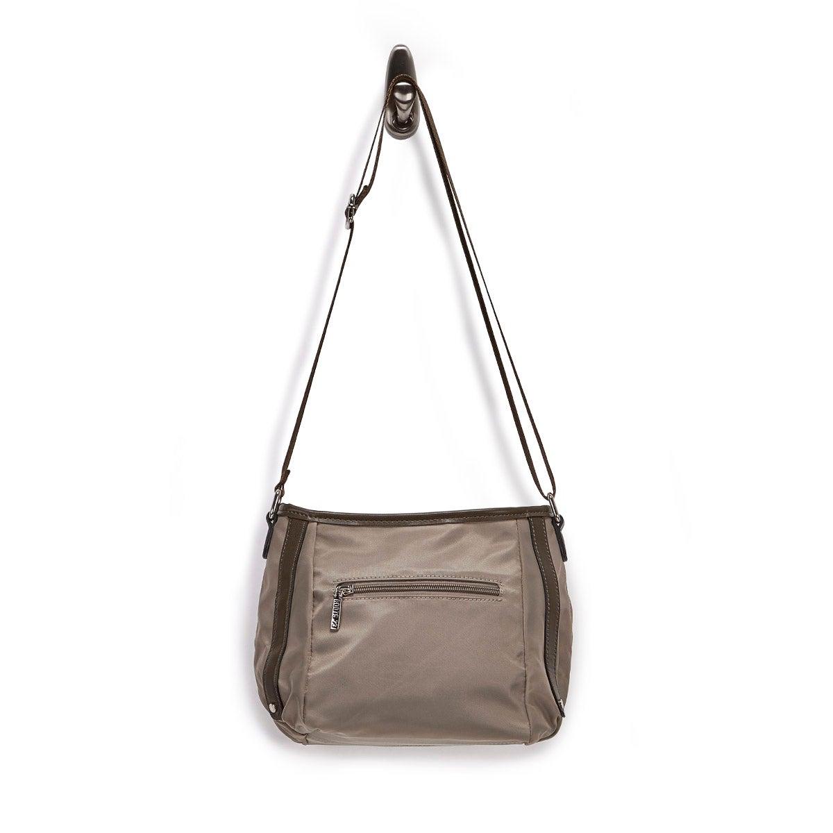 Lds khaki top zip east/west hobo bag
